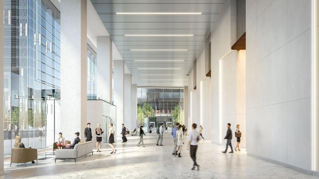 Lobby rendering, image via Cadillac Fairview