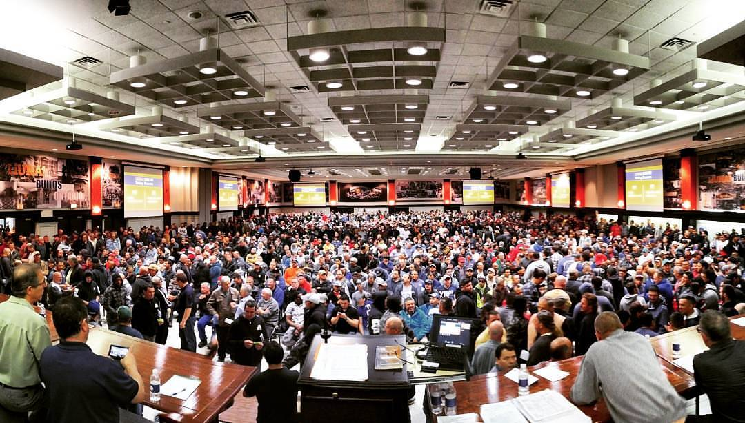 LiUNA 183 residential framing ratification meeting, where members voted to strike (From union's Facebook site)