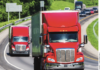truckers on highway stock image
